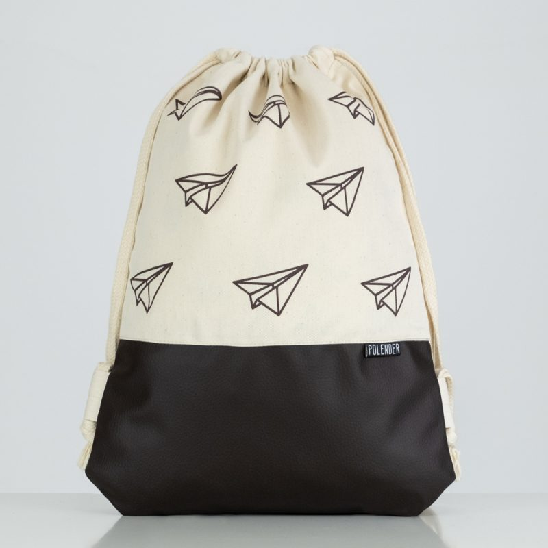 Handmade drawstring bag with print Paper planes