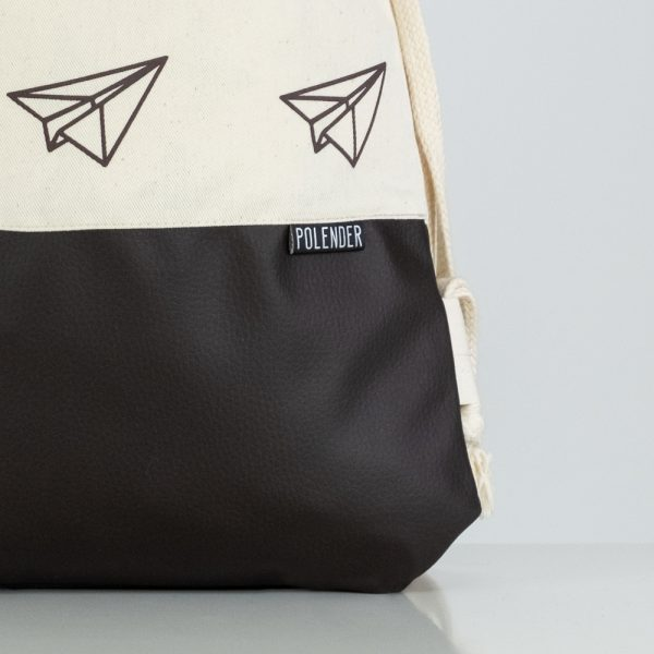Eco-Leather handmade drawstring bag with print Paper planes