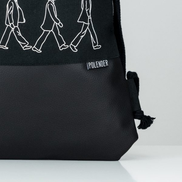 Eco-Leather handmade drawstring bag with print ABBEY ROAD
