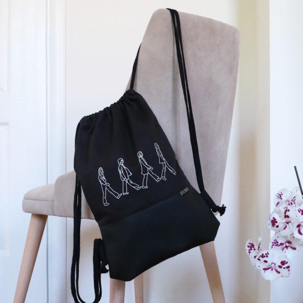 Handmade drawstring bag with print ABBEY ROAD