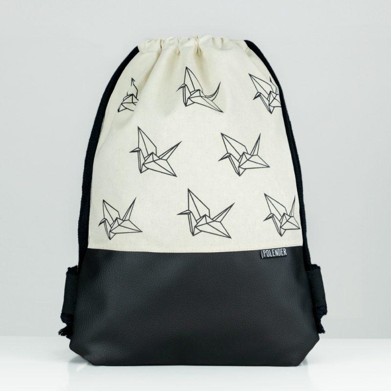 Handmade drawstring bag with print Origami