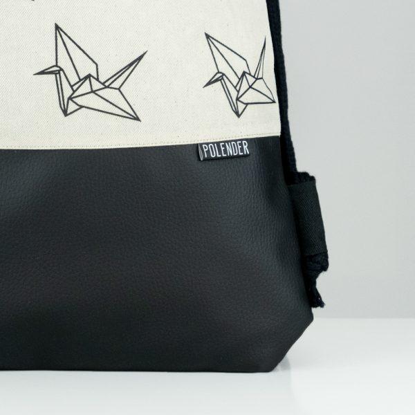 Eco-Leather handmade drawstring bag with print Origami