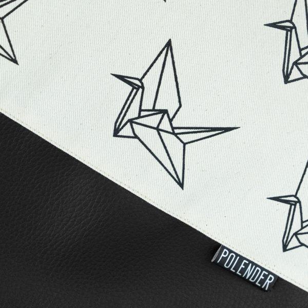 Print Origami on handmade drawstring bag
