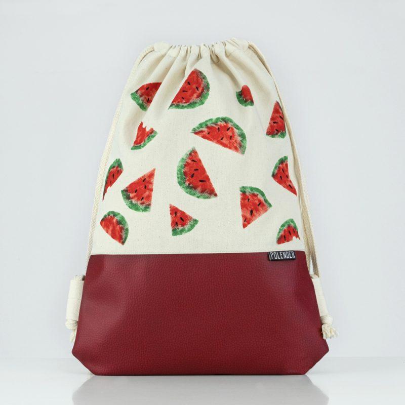 Handmade drawstring bag with print Watermelon