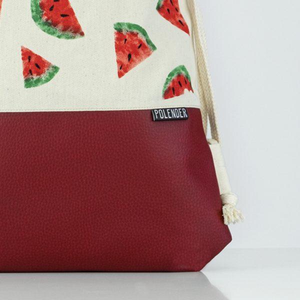 Eco-Leather handmade drawstring bag with print Watermelon