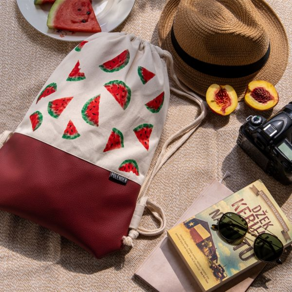 Handmade drawstring bag with print Watermelon on picnic
