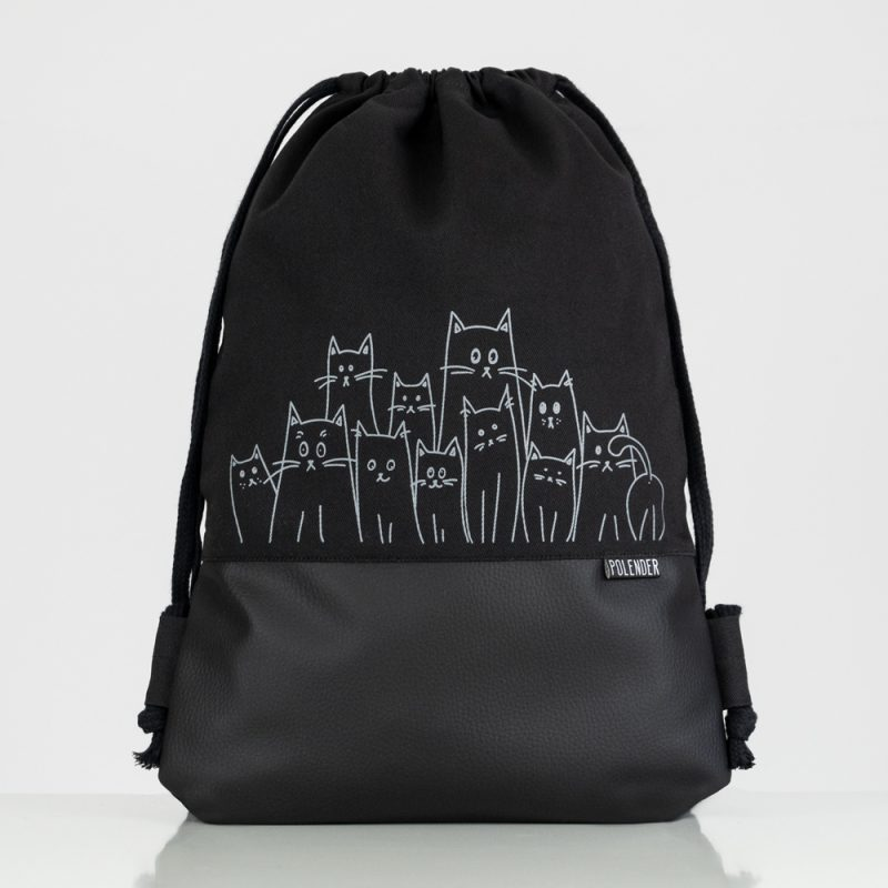 Handmade drawstring bag with print Silly Cats