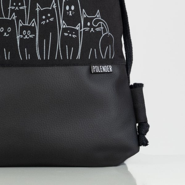 Eco-Leather handmade drawstring bag with print Silly Cats