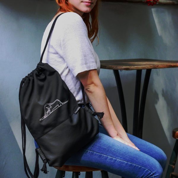 Young girl with Handmade drawstring bag with print Little Prince