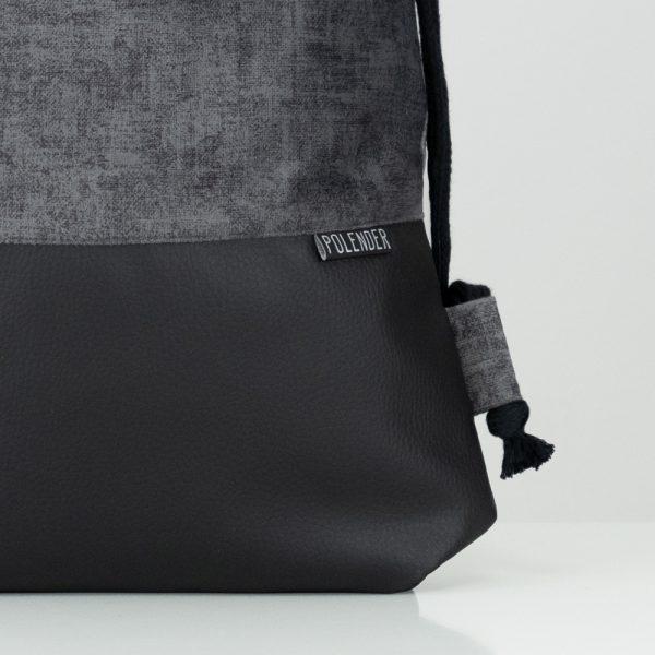 Eco-Leather handmade drawstring bag GRAY