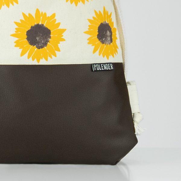 Eco-Leather handmade drawstring bag with print Sunflower