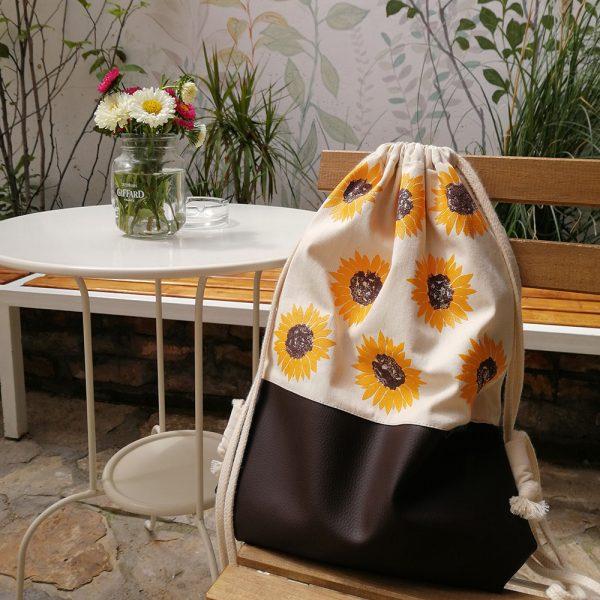 Handmade drawstring bag with print Sunflower