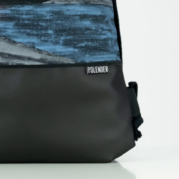 Eco-Leather handmade drawstring bag with print Blood Moon
