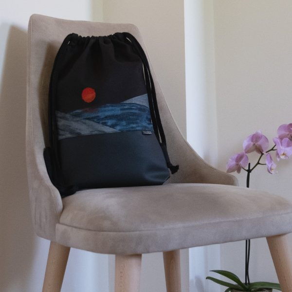 Handmade drawstring bag with print Blood Moon