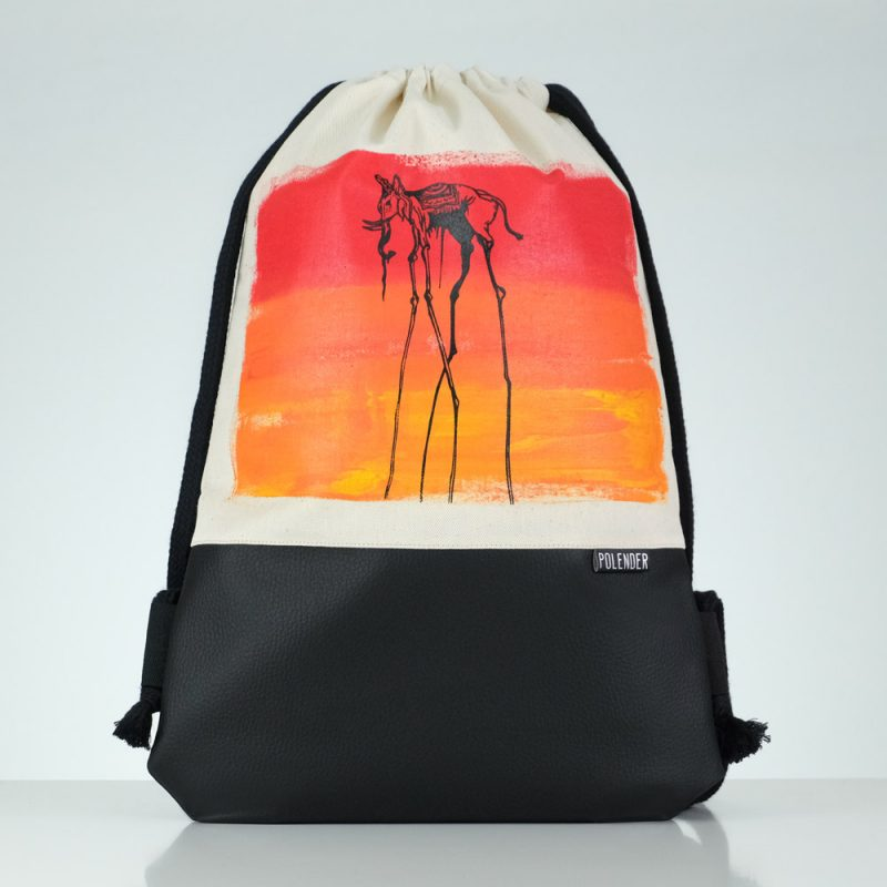 Handmade drawstring bag with print Salvador Dali's Elephant