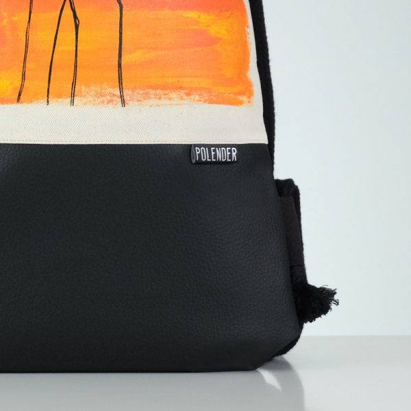 Eco-Leather handmade drawstring bag with print Salvador Dali's Elephant