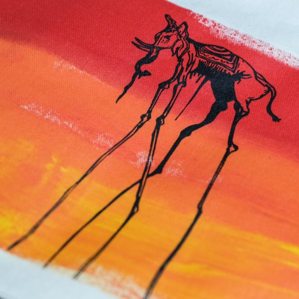 Salvador Dali's Elephant Print on Drawstring Bag