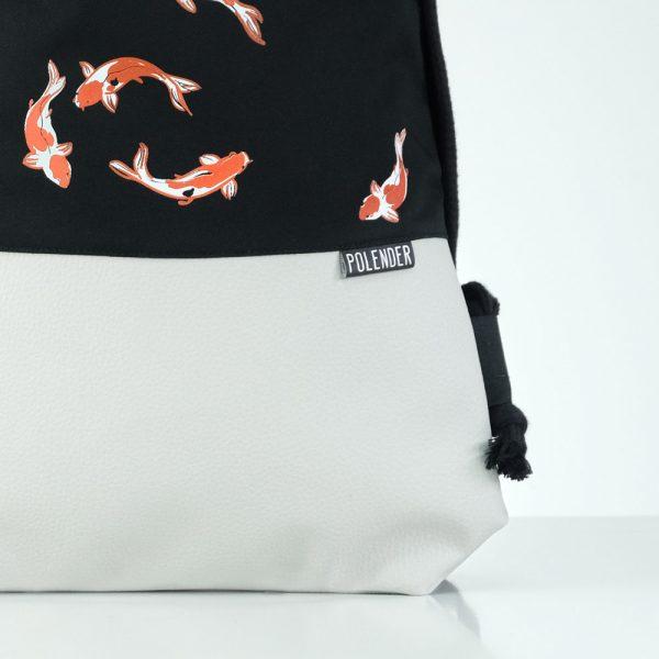 Eco-Leather handmade drawstring bag Dark Koi Fish