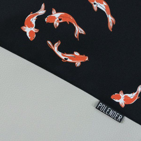 Dark Koi Fish Print on Drawstring Bag