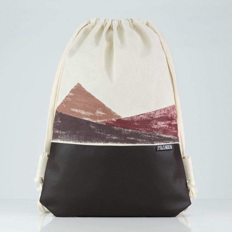 Handmade drawstring bag with print geometric shapes