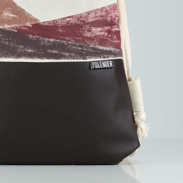Eco-Leather handmade drawstring bag with print geometric shapes