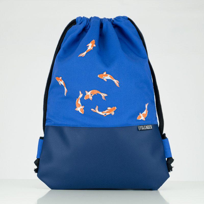 Handmade drawstring bag with print Royal Koi Fish