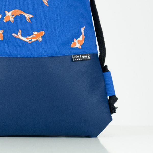 Eco-Leather handmade drawstring bag Royal Koi Fish