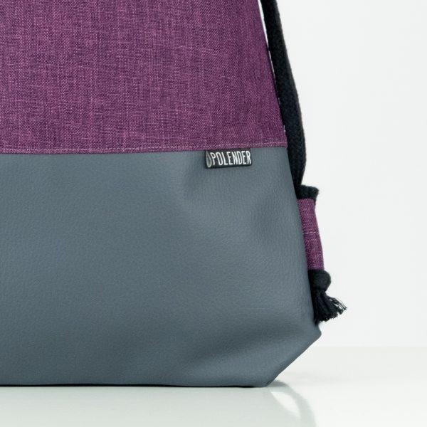 Eco-Leather handmade drawstring bag ultra violet Polender