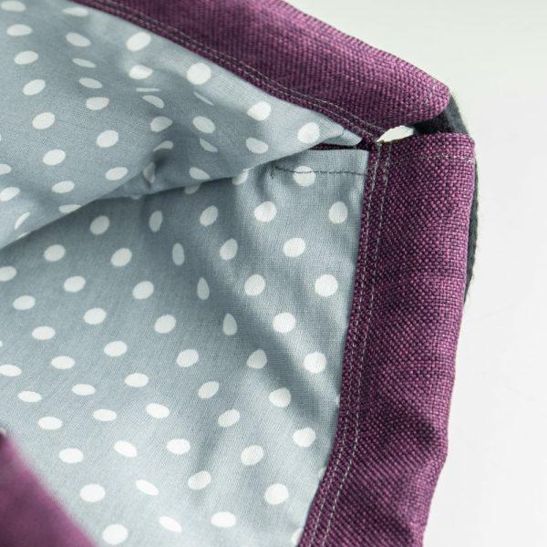 Handmade drawstring bag inside