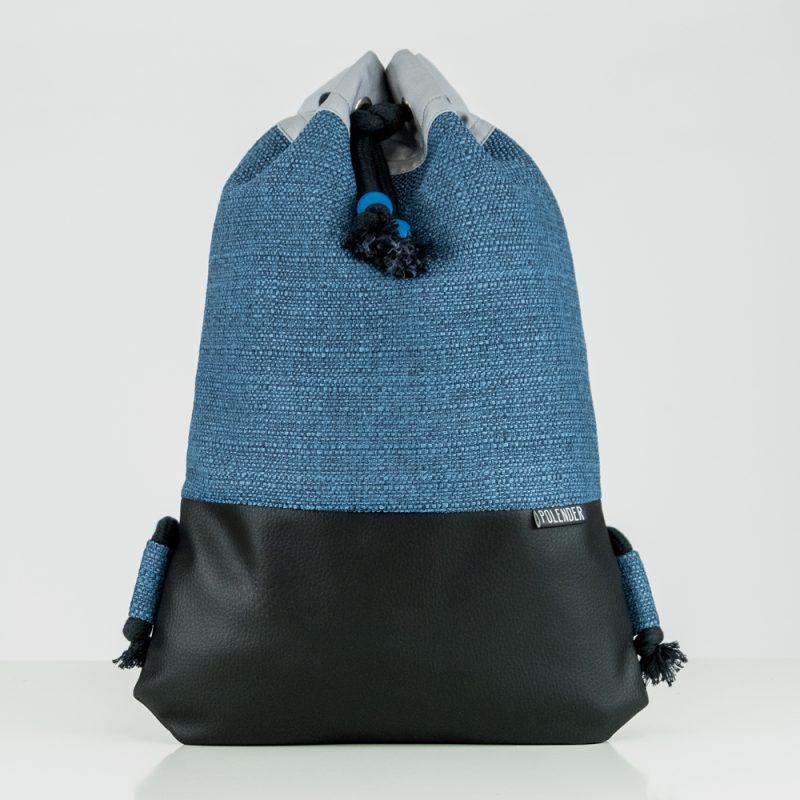 Blue Handmade drawstring bag with rope