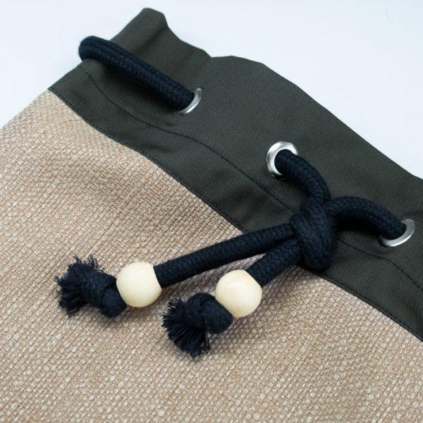 Cream Handmade drawstring bag with rope