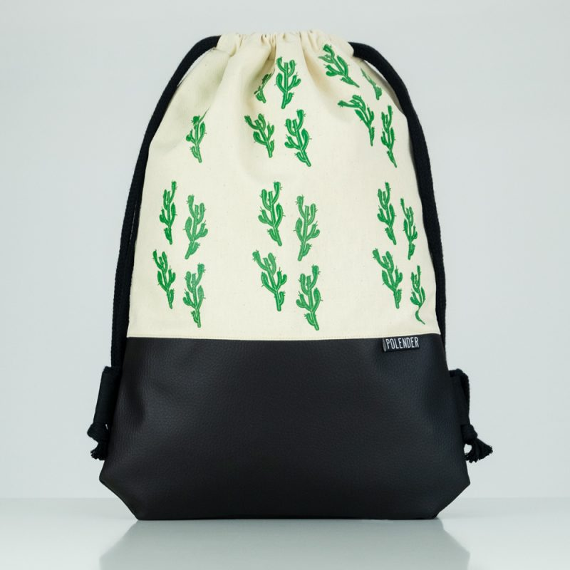 Eco-Leather handmade drawstring bag Cactus