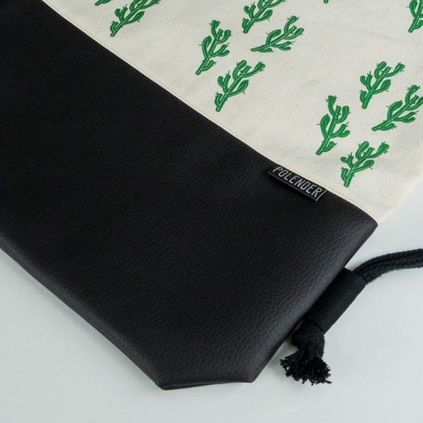 Cactus Eco-Leather Drawstring bag with cord