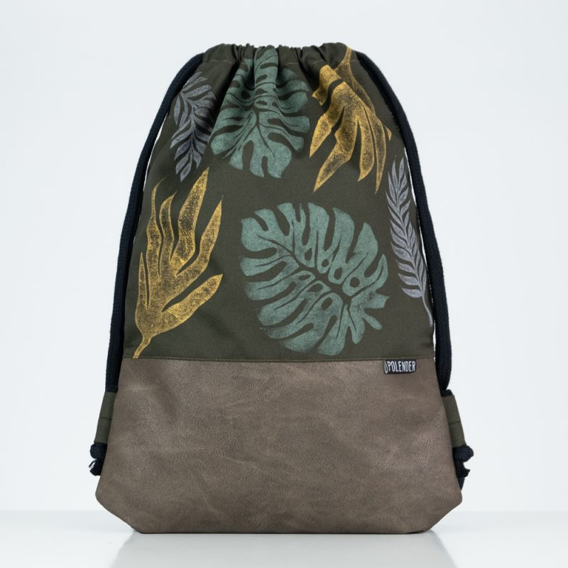Eco-Leather handmade drawstring bag Lino Monstera