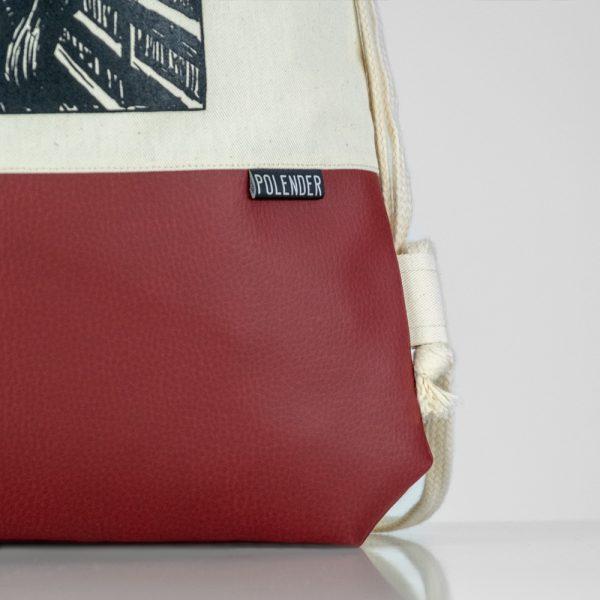 Eco-Leather handmade drawstring bag The Scream