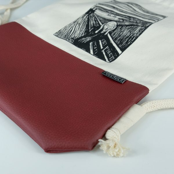 The Scream Eco-Leather Drawstring bag with cord