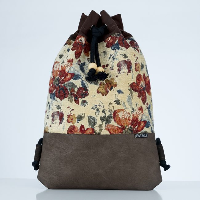 Floral Handmade drawstring bag with rope